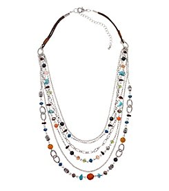 Ruff Hewn Silvertone Six Row Beaded Necklace