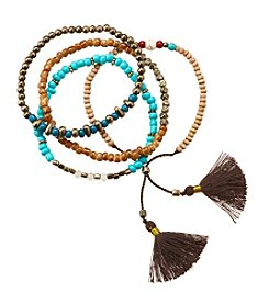 Ruff Hewn Four Beaded Tassel Bracelets