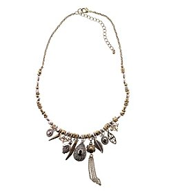 Ruff Hewn Eclectic Metal Charm and Mixed Bead Necklace