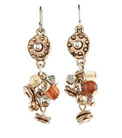 Ruff Hewn Goldtone Disc Cluster Drop Earrings