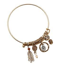 Ruff Hewn Goldtone Wire Charm Bracelet