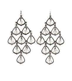Relativity® Hematite Chandelier Teardrop Earrings With Beads