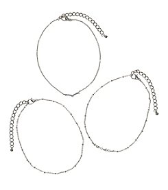 Relativity® Three Piece Silvertone Dainty Choker Set
