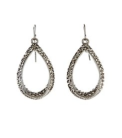 Relativity® Hematite Tone Double Open Teardrop Earrings With Stones