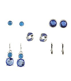 Studio Works® Five Pairs Of Blue Silvertone Earrings