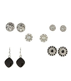 Studio Works® Five Pairs of Black and Silvertone Earrings