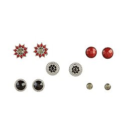Studio Works® Five Pairs of Red and Black Silvertone Earrings