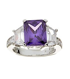 Glamour Rings Emerald Cut Tanzanite Cubic Zirconia Ring