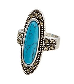 Glamour Rings Genuine Turquoise Stone Ring With Marcasite Accents