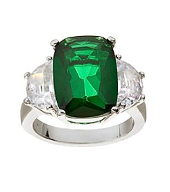Glamour Rings Oval Green Glass Stone Ring With Cubic Zirconia Accents