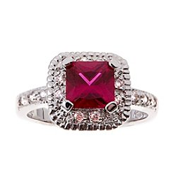 Glamour Rings Princess Cut Synthetic Ruby Ring
