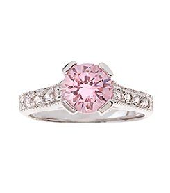 Glamour Rings Round Pink Cubic Zirconia Ring