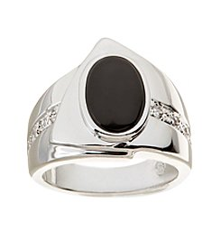 Glamour Rings Bezel Set Oval Onyx Stone Ring With Cubic Zirconia Accents