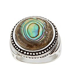Glamour Rings Round Genuine Abalone Stone Ring