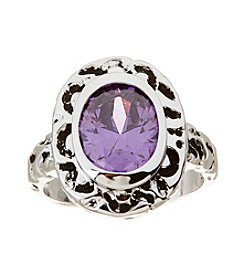 Glamour Rings Antique Detail Amethyst Cubic Zirconia Ring