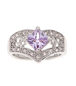 Glamour Rings Princess Cut Lavender Cubic Zircona Stone Ring