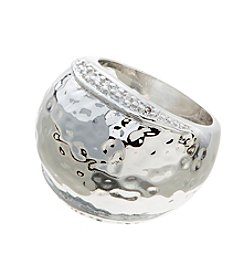 Glamour Rings Hammered Dome Shape Ring With Cubic Zirconia Accents