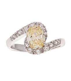 Glamour Rings Oval Yellow Cubic Zirconia Ring With Cubic Zirconia Accents