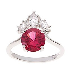 Glamour Rings Round Synthetic Ruby Ring