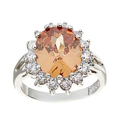 Glamour Rings Oval Cubic Zirconia Center Stone Ring