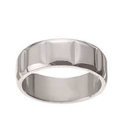 Glamour Rings Stainless Steel Band With Raised Square Detail