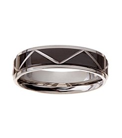 Glamour Rings Stainless Steel Band With And Chevron Pattern Detail