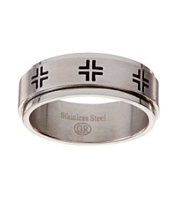 Glamour Rings Stainless Steel Band With Spinning Cross Embellished Center