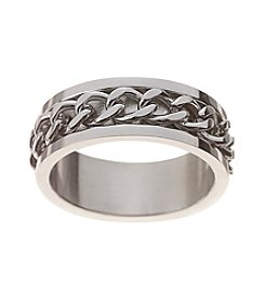 Glamour Rings Stainless Steel Band With Spinning Chain Detail