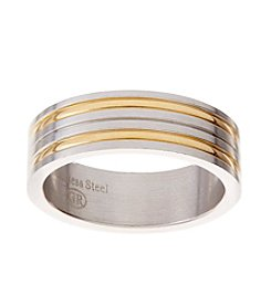 Glamour Rings Stainless Steel Band With Thin Stripe Accents