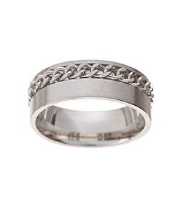 Glamour Rings Rope Detail Stainless Steel Band Ring