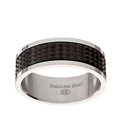 Glamour Rings Stainless Steel Band With Textured Spinning Detail