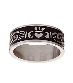 Glamour Rings Stainless Steel Band With Claddagh Design And Accent