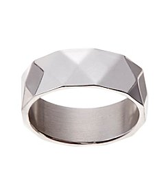 Glamour Rings 8mm Shiny Stainless Steel Band With Diamond Texture