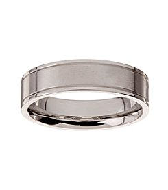 Glamour Rings 6mm Brushed Finish Stainless Steel Band With Shiny Edges