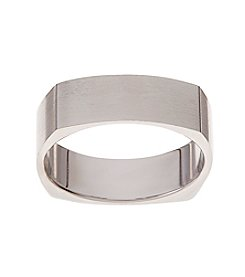 Glamour Rings 6mm Brushed Finish Square Shape Stainless Steel Band