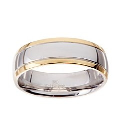Glamour Rings 6mm Shiny Finish Rounded Edge Stainless Steel Band With Accent