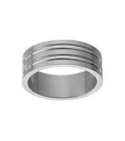 Glamour Rings Stainless Steel Band With Multiple Shiny And Brushed Finish Stripes