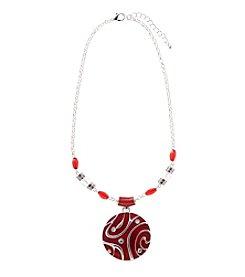 Studio Works® Silvertone Round Epoxy Necklace