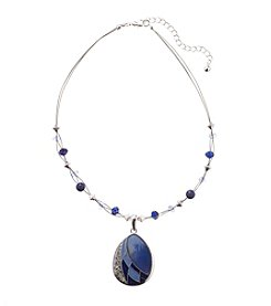 Studio Works® Silvertone Shell Drop Pendant Necklace With Stones