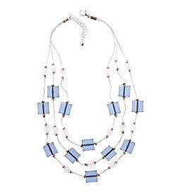 Studio Works® Two Tone Square And Round Beaded Illusion Necklace