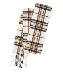 V. Fraas Long Skinny Plaid Scarf