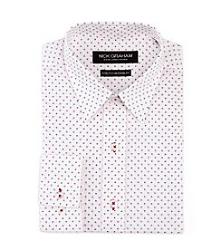 Nick Graham Men's Black And Red Mini Print Long Sleeve Dress Shirt