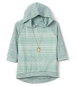 Beautees Girls' 7-16 Lace Accent Hoodie