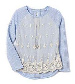 Beautees Girls' 7-16 Long Sleeve Lace Accent Top