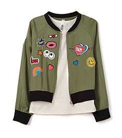 Beautees Girls' 7-16 Tank with Patched Bomber Jacket
