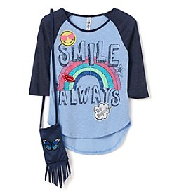 Beautees Girls' 7-16 Smile Always Raglan Tee with Purse