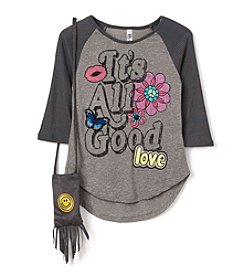 Beautees Girls' 7-16 Its All Good Raglan Tee with Purse