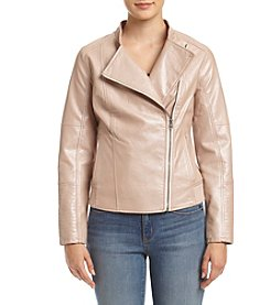 Ruff Hewn Petites' Quilted Shoulder Moto Jacket
