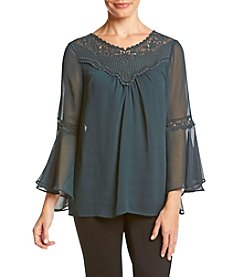 AGB® Lace Placket Bell Sleeve Top