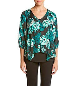 AGB® Floral Print Sparkle Neck Top